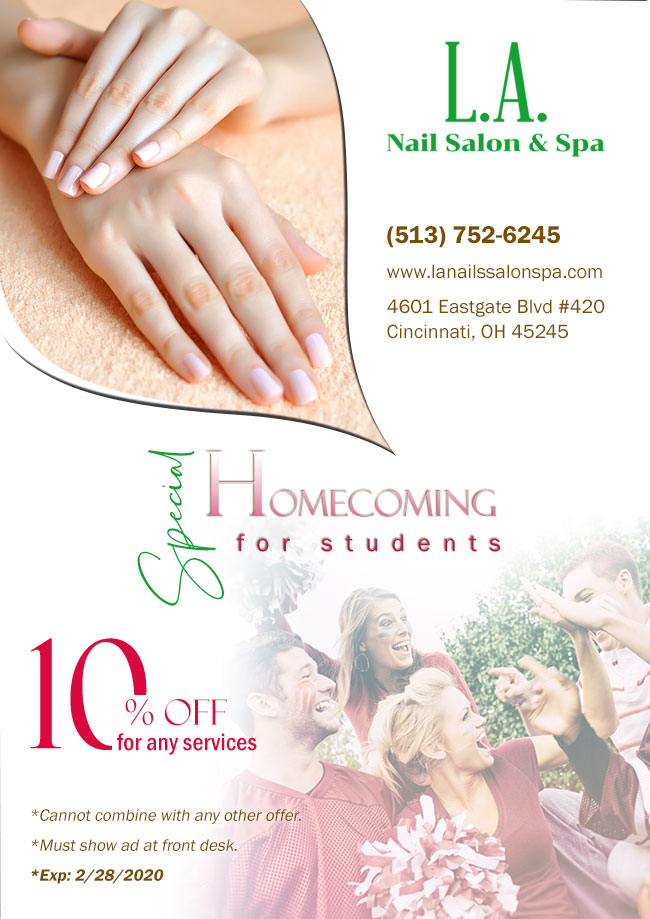 Nail Salon 45245 L A Nail Salon Spa Of Cincinnati Oh Gel Manicure Artifical Nails Pedicure Eyelash Extension Facial Waxing
